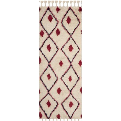Lockheart Hand-Tufted Beige/Red Area Rug Rug Size: 8 x 10
