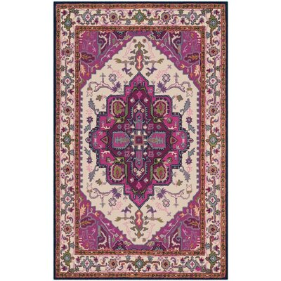 Marco Hand-Tufted Ivory/Pink Area Rug Rug Size: Square 5 x 5