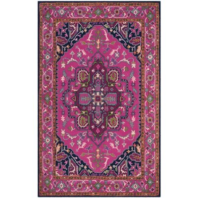 Marco Hand-Tufted Pink/Navy Area Rug Rug Size: Rectangle 5 x 8