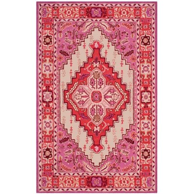 Marco Hand-Tufted Red Pink/Ivory Area Rug Rug Size: 6 x 9