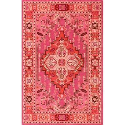 Marco Hand-Tufted Red/Pink Area Rug Rug Size: Rectangle 5 x 8