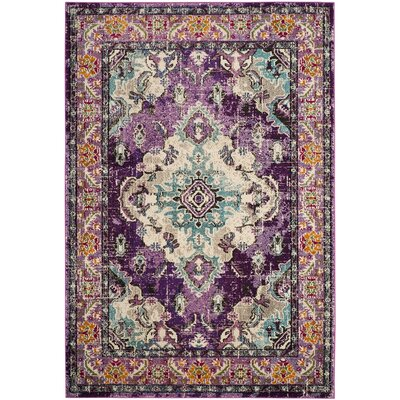 Newburyport Violet/Light Blue Area Rug Rug Size: Rectangle 67 x 92
