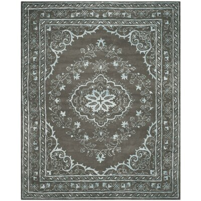 Samaniego Hand-Tufted Dark Gray Area Rug Rug Size: Round 6