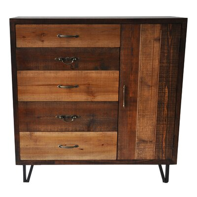 Ouanane 5 Drawer and 1 Door Clean Rustic Chest