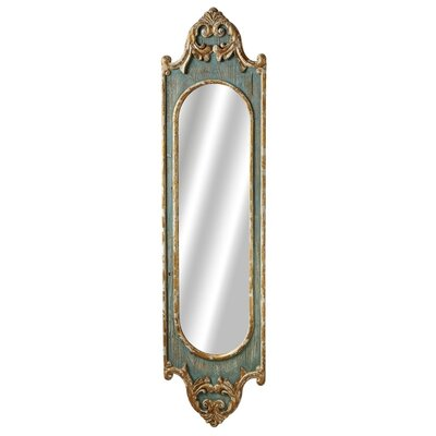 Distressed Blue Wood Tall Scroll Wall Mirror