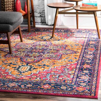 Paloma Pink/Orange Area Rug Rug Size: Rectangle 5 x 75