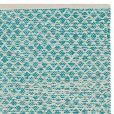 Saleem Hand-Woven Turquoise/Ivory Area Rug Rug Size: 5 x 8
