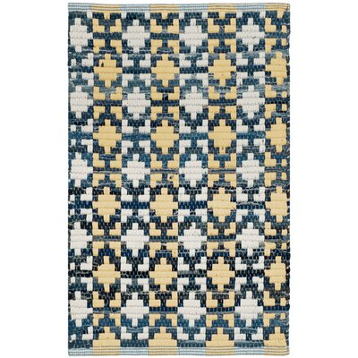 Saleem Hand-Woven Gold/Navy Area Rug Rug Size: Rectangle 26 x 4