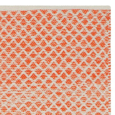 Saleem Hand-Woven Orange/Ivory Area Rug Rug Size: Rectangle 5 x 8