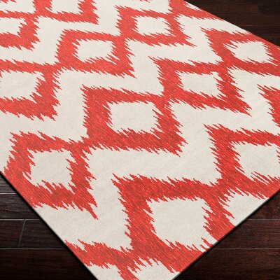 Faith Poppy Red/Winter White Ikat Area Rug Rug Size: 36 x 56