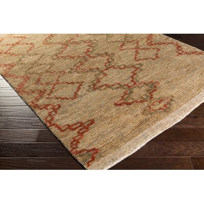 Amsbry Hand-Knotted Brown/Red Area Rug Rug Size: 6 x 9