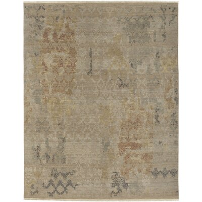 Wabe Hand-Knotted Khaki Area Rug Rug size: 2 x 3