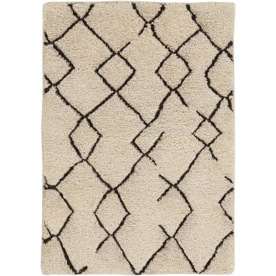 Kinzie Hand-Knotted White/Black Area Rug Rug size: Rectangle 6 x 9