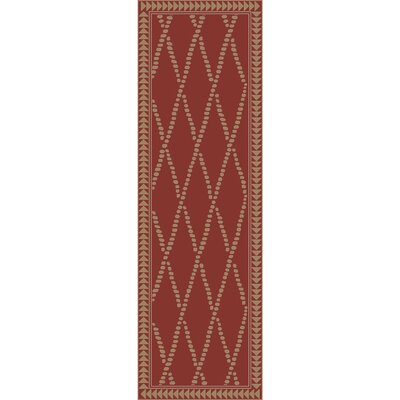 Elvera Hand-Knotted Red/Neutral Area Rug Rug Size: Runner 26 x 8