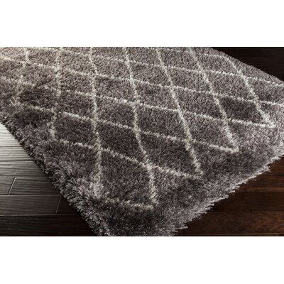 Evelyn Hand-Woven Pewter Shag Area Rug Rug Size: Rectangle 5 x 8