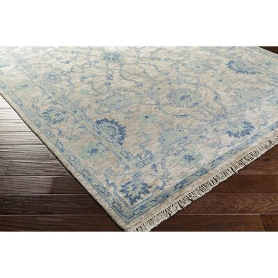 Ivy Hand-Knotted Green/Blue Area Rug Rug Size: Rectangle 9 x 13