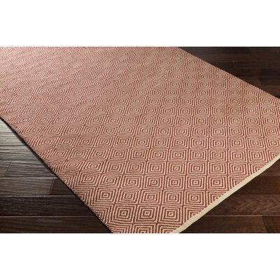 Waverly Hand-Woven Neutral/Red Area Rug Rug Size: 2 x 3