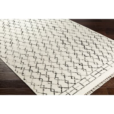Hassani Geometric Hand-Woven Neutral/Black Area Rug Rug Size: Rectangle 5 x 76