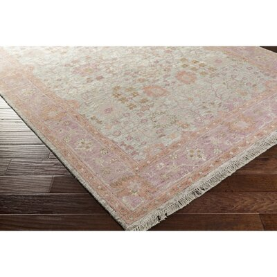 Kayl Hand-Knotted Orange/Pink Area Rug Rug Size: 9 x 13