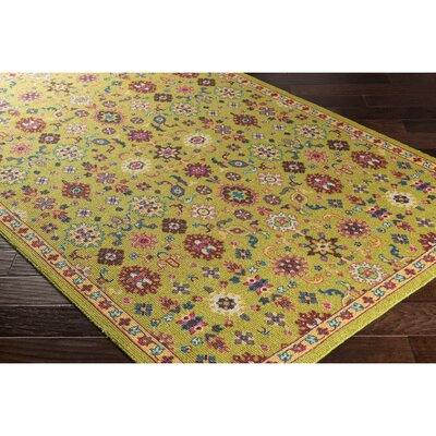 Emmie Green/Yellow Area Rug Rug Size: 53 x 76