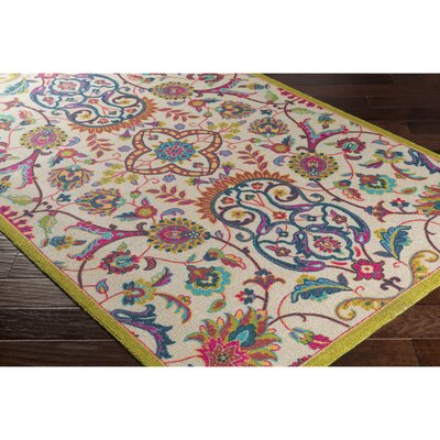 Emmie Neutral/Green Area Rug Rug Size: 53 x 76