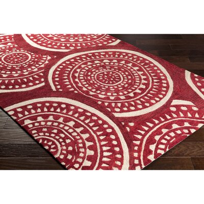 Elda Hand-Tufted Red Area Rug Rug Size: Rectangle 5 x 76