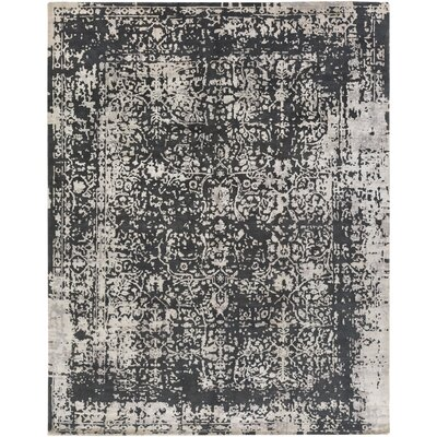 Vinoy Hand-Knotted Black/Grey Area Rug Rug Size: 9 x 12