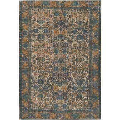 Borendy Oriental Hand-Woven Neutral/Blue Area Rug Rug Size: Rectangle 2' x 3'