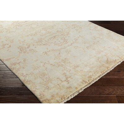 Marina Hand-Knotted Neutral/Pink Area Rug Rug Size: 9 x 13