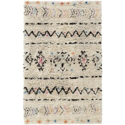 Hylton Hand-Knotted Neutral/Black Area Rug Rug Size: 4 x 6