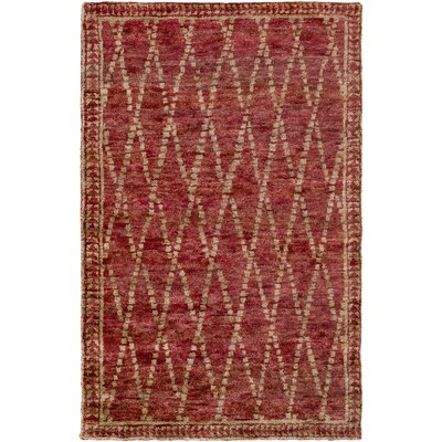 Elvera Hand-Knotted Red/Neutral Area Rug Rug Size: 2' x 3'