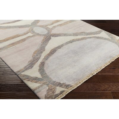 Larache Hand-Knotted Neutral/Pink Area Rug Rug Size: 6 x 9