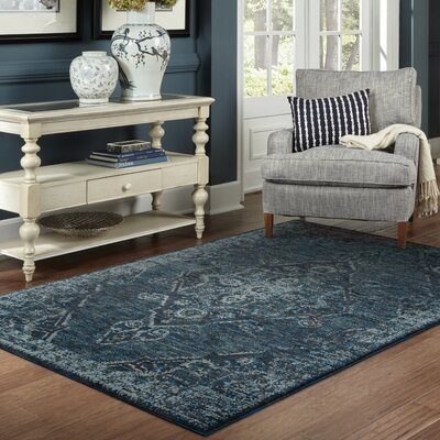 Tuma Medallion Blue Area Rug Rug Size: Rectangle 310 x 56