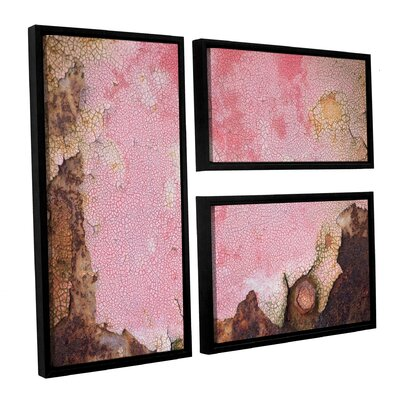 Pink Crackle 3 Piece Framed Graphic Art Set