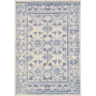 Imperial Ivory/Blue Area Rug Rug Size: 8 x 11