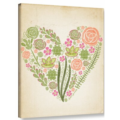 Succulent Heart Painting Print on Wrapped Canvas