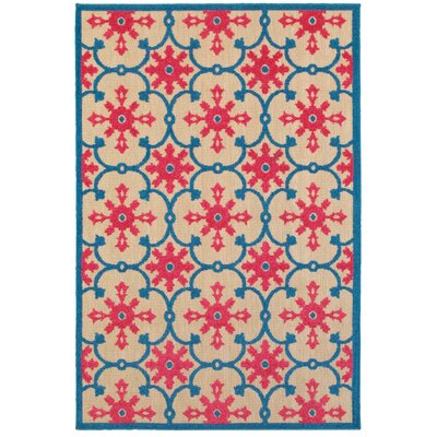 Luisa Sand/Pink Outdoor Area Rug Rug Size: Rectangle 67 x 96