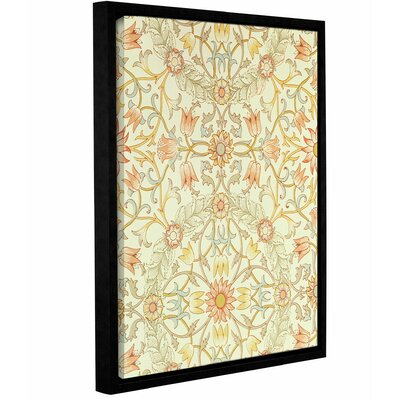 Wallpaper with a Floral Design of Lilies Enclosed Framed Graphic Art on Wrapped Canvas
