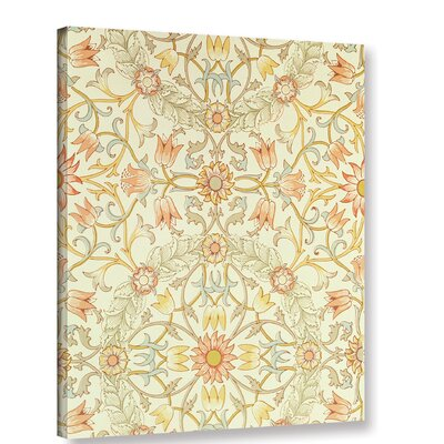Wallpaper with a Floral Design of Lilies Enclosed Graphic Art on Wrapped Canvas