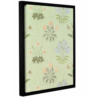 'Daisy Design Wallpaper with Lily of the Valley and Other Wild Flowers on a Willow Background, 1862' Framed Graphic Art on Wrapped Canvas Size: 10