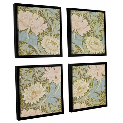 'Chrysanthemum Wallpaper Design, 1876 2' 4 Piece Framed Graphic Art on Canvas Set Size: 36