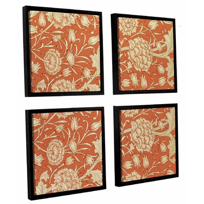 'Tulip Wallpaper Design, 1875' 4 Piece Framed Graphic Art on Canvas Set Size: 36 H x 36 W x 2 D
