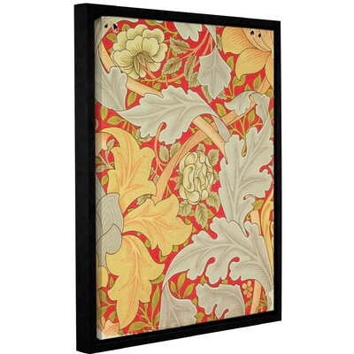 'Acanthus Leaves and Wild Rose on a Crimson Background, Wallpaper Design' Framed Graphic Art on Wrapped Canvas Size: 10
