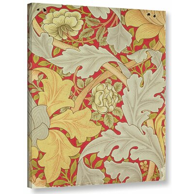 'Acanthus Leaves and Wild Rose on a Crimson Background, Wallpaper Design' Graphic Art on Wrapped Canvas Size: 10