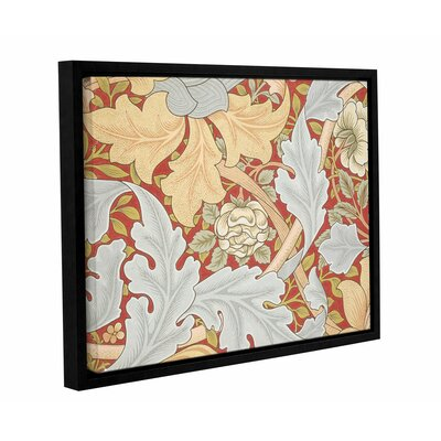 'Acanthus Leaves, Wild Rose on Crimson Background' Framed Graphic Art on Wrapped Canvas Size: 14