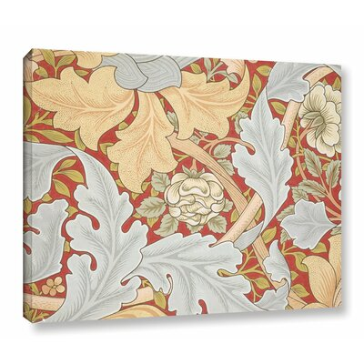 'Acanthus Leaves, Wild Rose on Crimson Background' Graphic Art on Wrapped Canvas Size: 14