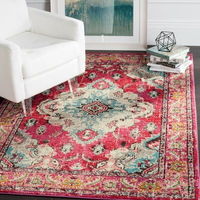 Elston Pink Area Rug Rug Size: Runner 22 x 20