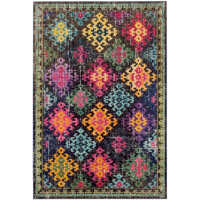 Crosier Green/Pink Area Rug Rug Size: Rectangle 3 x 5