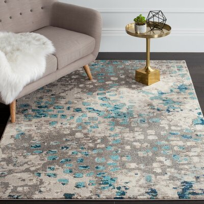 Crosier Grey & Light Blue Area Rug Rug Size: Round 9