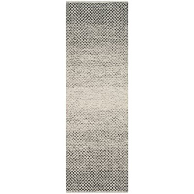 Figuig Hand-Woven Black/Ivory Area Rug Rug Size: Runner 23 x 7